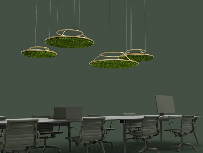 Green-Mood-Moss-Acoustic-Circle-Wall-Hanging-Panels-with-Gold-Structure-and-Ball-Moss-Filling-in-Dark-Office-Setting