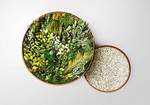 Green Mood Moss Acoustic Circle Wall & Hanging Panels with Gold Structure and Forest Flower Filling 500x350