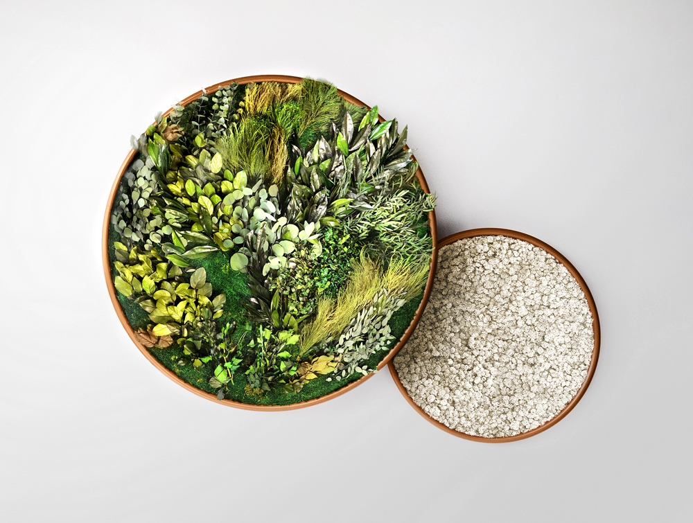 Green-Mood-Moss-Acoustic-Circle-Wall-Hanging-Panels-with-Gold-Structure-and-Forest-Flower-Filling