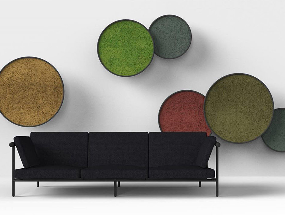 Green-Mood-Moss-Acoustic-Circle-Wall-Hanging-Panels-with-Matte-Black-Structure-and-Lichen-Moss-Filling