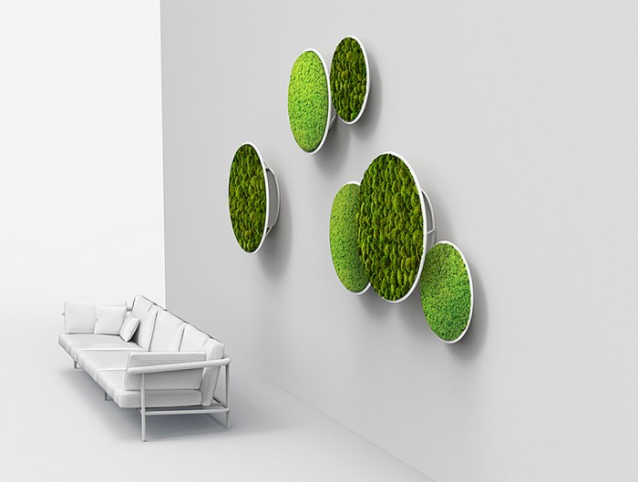 Green-Mood-Moss-Acoustic-Circle-Wall-Hanging-Panels-with-Matte-White-Structure-and-Lichen-and-Ball-Moss-Filling