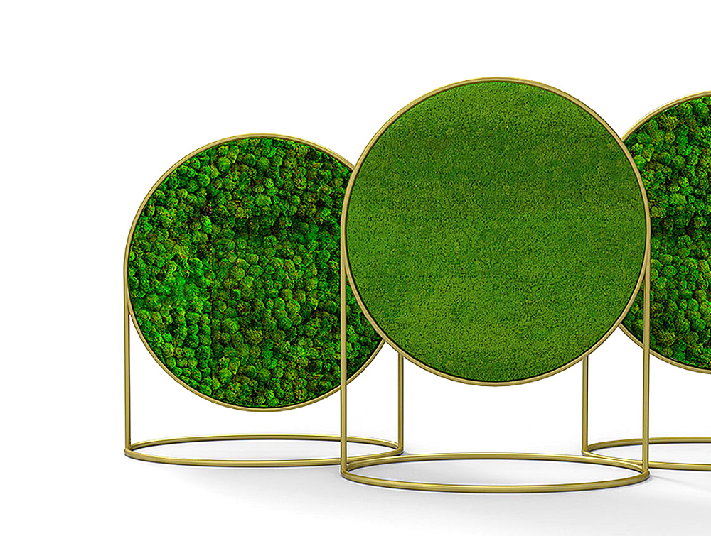 Green-Mood-Moss-Acoustic-Circular-Free-Standing-Screen-with-Brass-Frame-and-Lichen-and-Ball-Moss-Filling