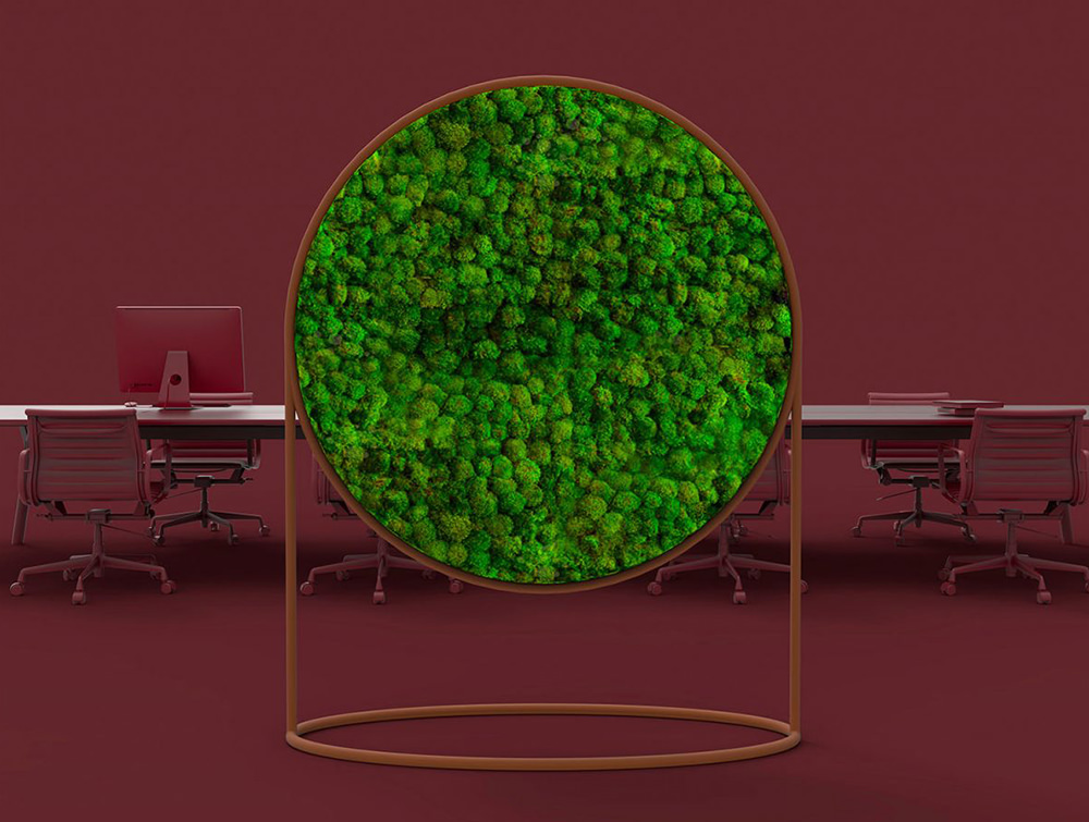 Green-Mood-Moss-Acoustic-Circular-Free-Standing-Screen-with-Corten-Frame-and-Ball-Moss-Filling-with-Maroon-Background