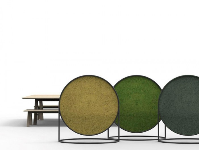 Green-Mood-Moss-Acoustic-Circular-Free-Standing-Screen-with-Matte-Black-Frame-and-Lichen-Moss-Filling