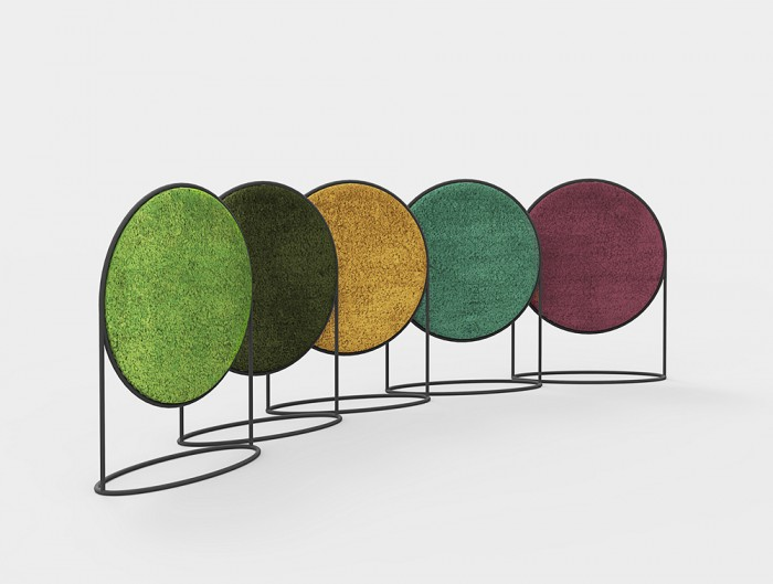 Green-Mood-Moss-Acoustic-Circular-Free-Standing-Screen-with-Matte-Black-Frame-and-Lichen-Moss-Filling-in-Five-Colours