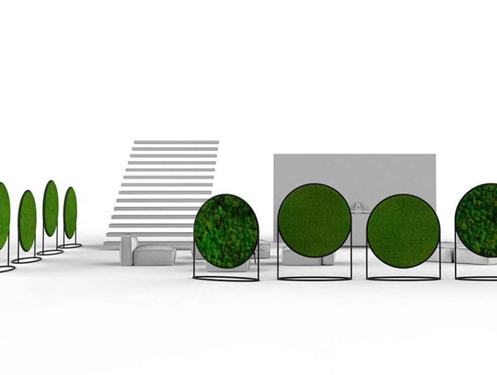 Green-Mood-Moss-Acoustic-Circular-Free-Standing-Screen-with-Matte-Black-Frame-and-Lichen-and-Ball-Moss-Filling