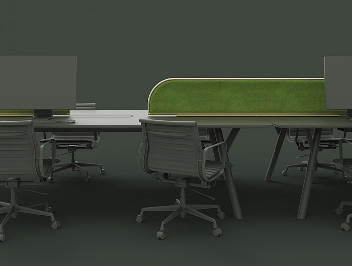 Green-Mood-Moss-Acoustic-Desk-Screens-with-Gold-Structure-in-Dark-Office-Setting