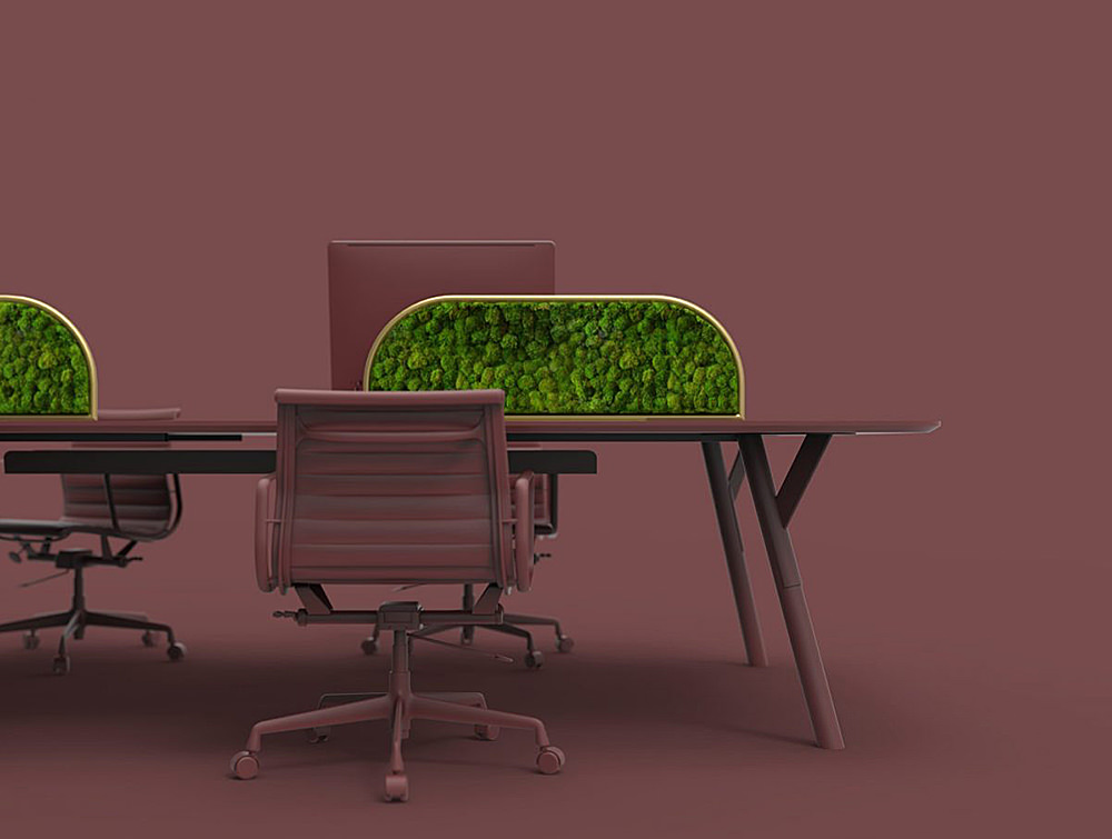 Green-Mood-Moss-Acoustic-Desk-Screens-with-Gold-Structure-in-Maroon-Office-Setting-Close-View