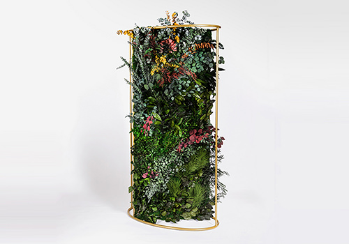 Green Mood Moss Acoustic Room Dividers with Brass Structure and Forest Flower Filling 500x350