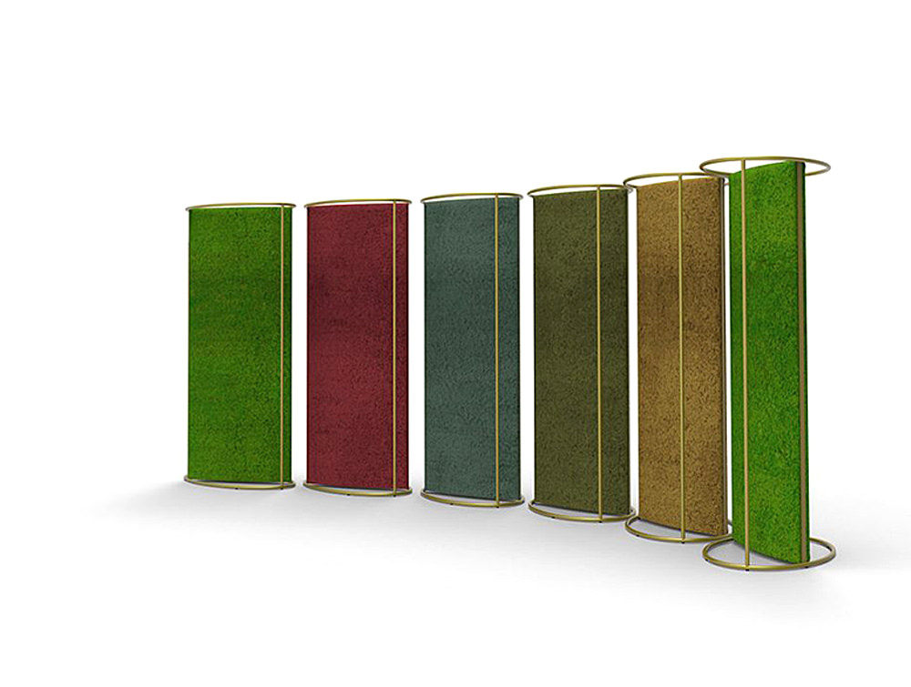 Green-Mood-Moss-Acoustic-Room-Dividers-with-Brass-Structure-and-Lichen-Moss-Filling-in-Six-Colours