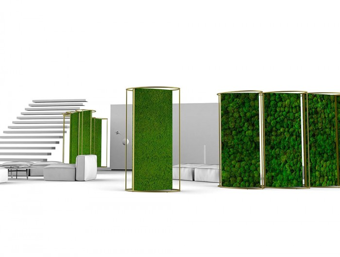 Green-Mood-Moss-Acoustic-Room-Dividers-with-Brass-Structure-and-Lichen-and-Ball-Moss-Filling-in-Reception-Area