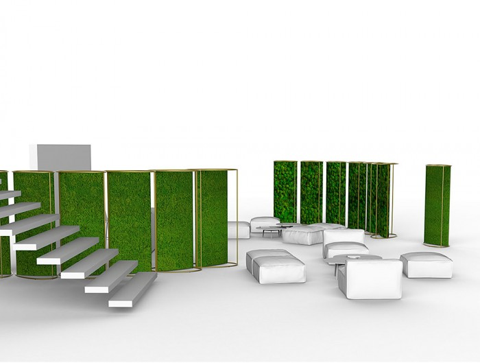 Green-Mood-Moss-Acoustic-Room-Dividers-with-Brass-Structure-and-Lichen-and-Ball-Moss-Filling-in-Reception-Area-Far