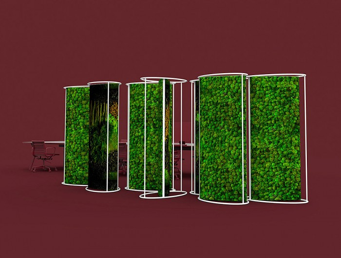 Green-Mood-Moss-Acoustic-Room-Dividers-with-Matte-White-Structure-and-Ball-Moss-Filling-in-Maroon-Background-Close-View