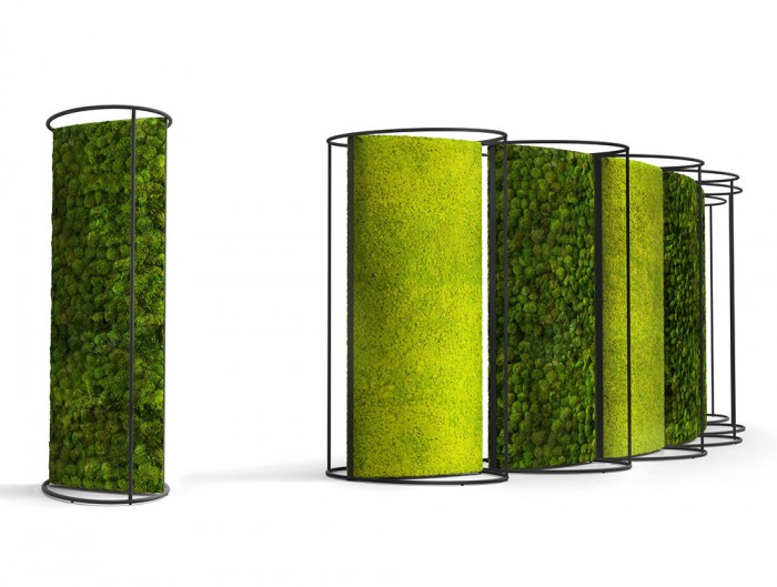 Green-Mood-Moss-Acoustic-Room-Dividers-with-Matte-White-Structure-and-Lichen-and-Ball-Moss-Filling