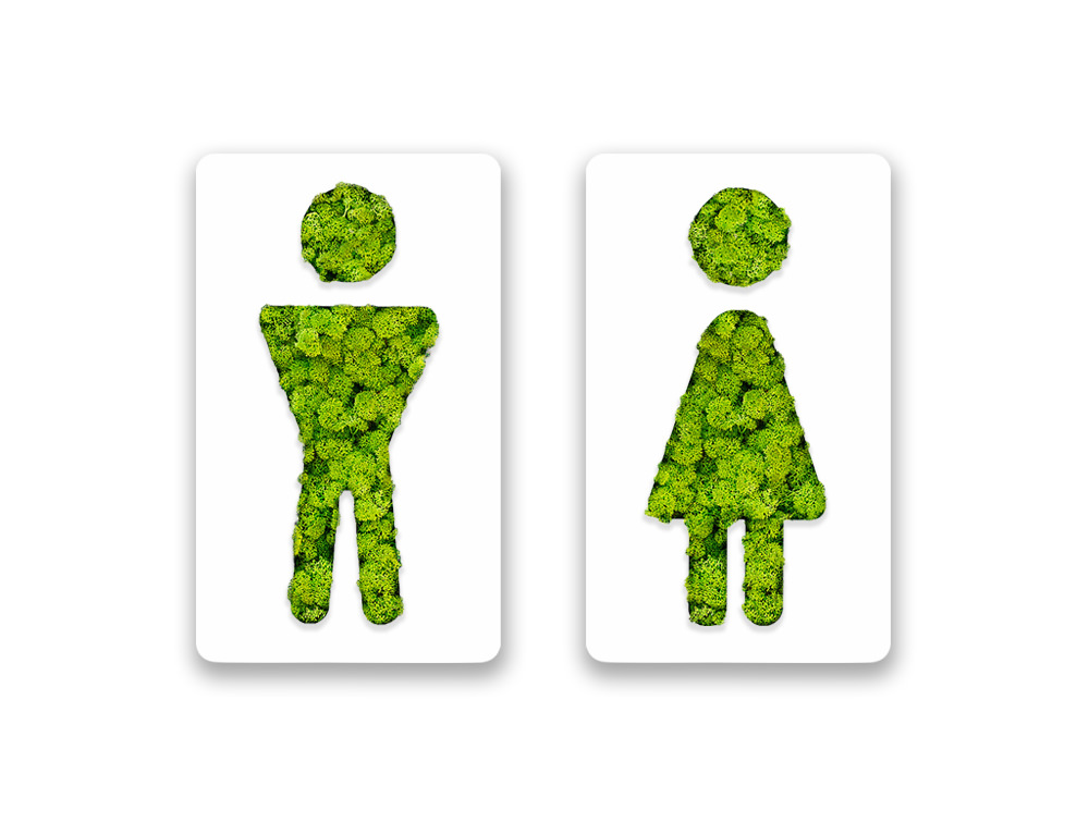 Green Mood Pictogram Male and Female Bathroom Sign
