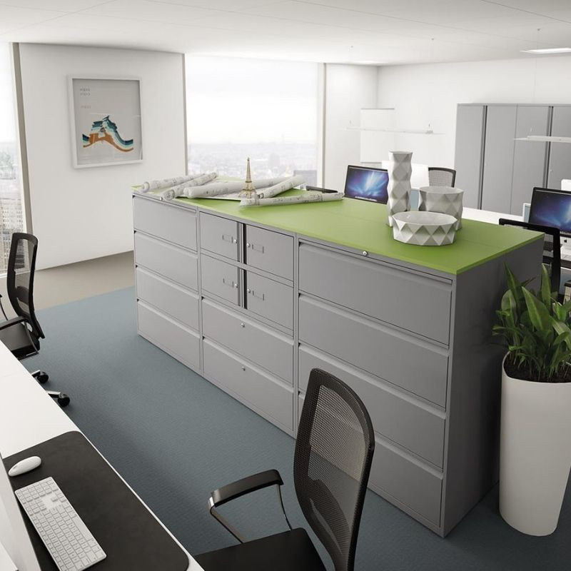 Grey Metal Drawers and Filing Cabinets with Green Surface
