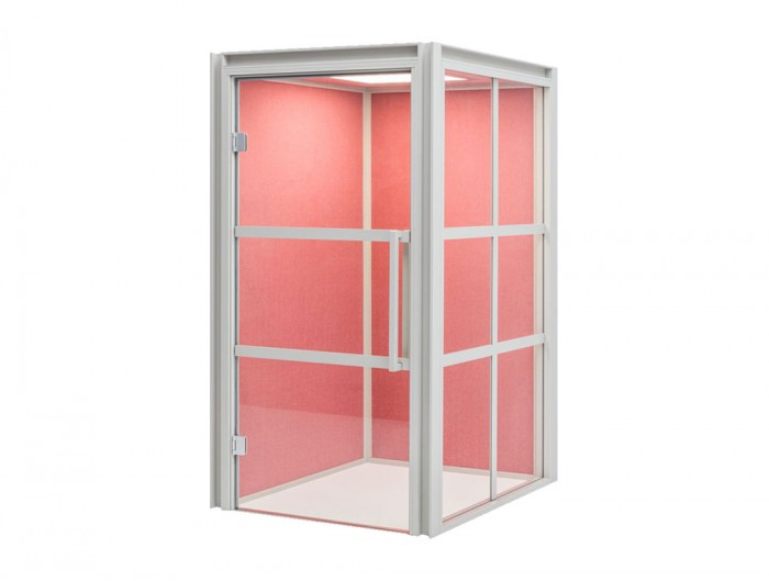 Hako-Multipurpose-Single-Seater-Acoustic-Booth-with-Pink-Interior