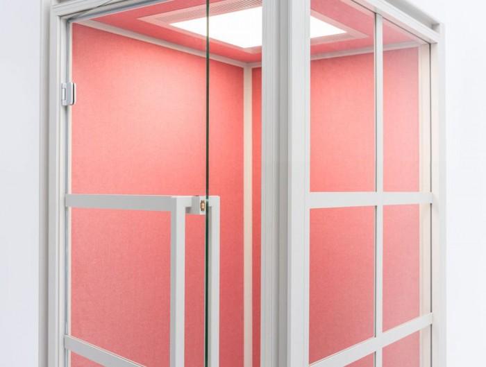 Hako-Multipurpose-Single-Seater-Acoustic-Booth-with-Pink-Interior-Ajar-Door