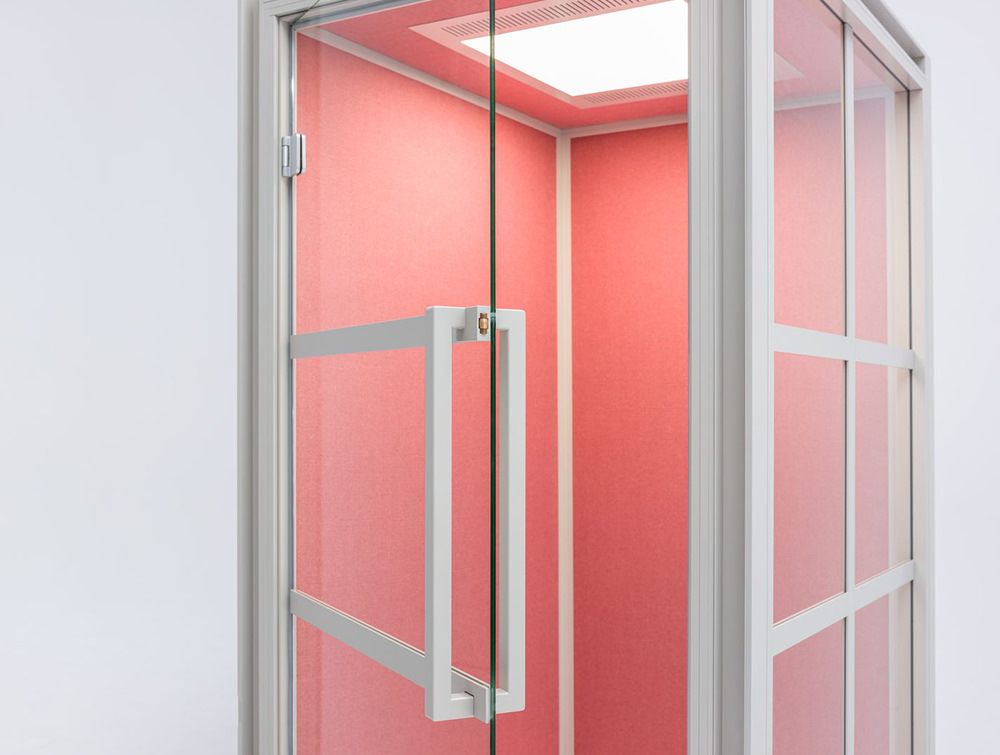 Hako-Multipurpose-Single-Seater-Acoustic-Booth-with-Pink-Interior-Angle-View