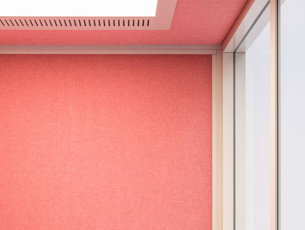 Hako-Multipurpose-Single-Seater-Acoustic-Booth-with-Pink-Interior-Ceiling-View