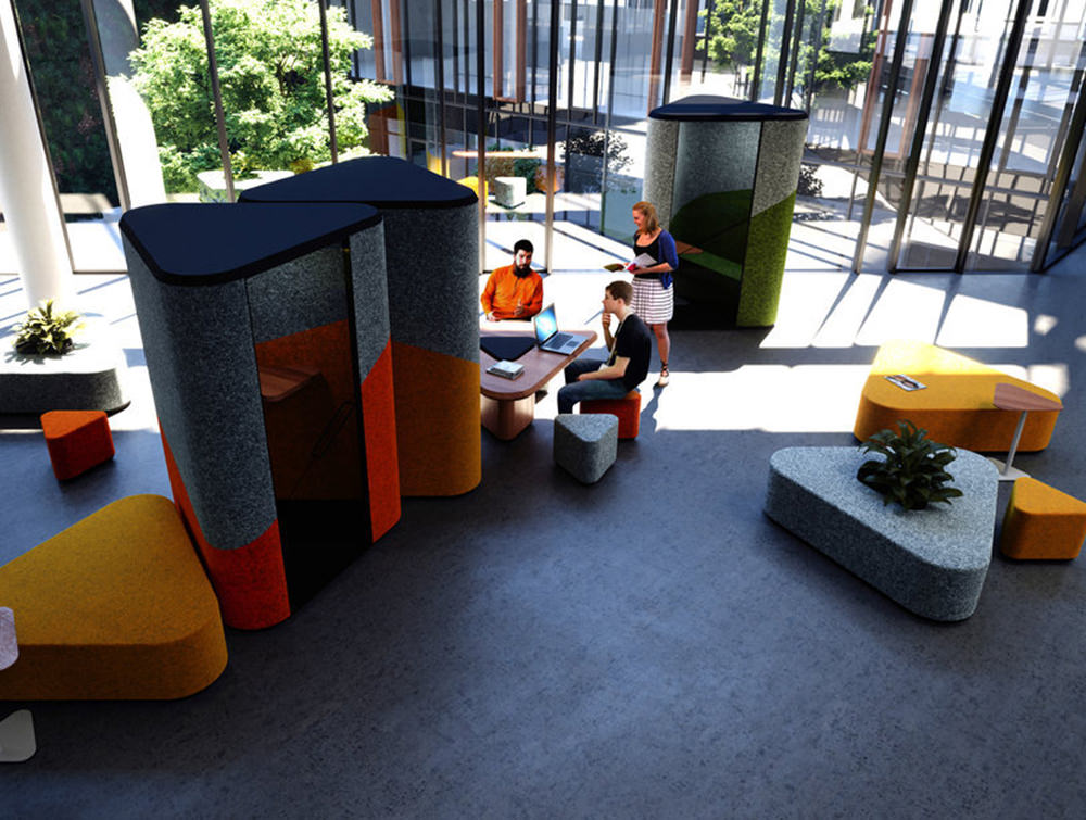 Hana-Compact-Acoustic-Phone-Booth-Top-View-in-Seating-Area