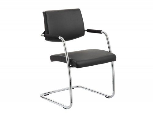 Havanna Visitor Chair Black Leather With Arms Featured Image