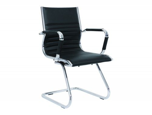 Heiro Cantilever Black Faux Leather Designer Chair With Arms Featured Image