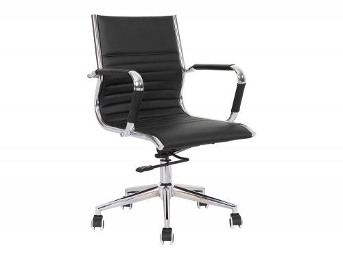 Heiro Medium Back Black Faux Leather Designer Chair With Arms Image 1