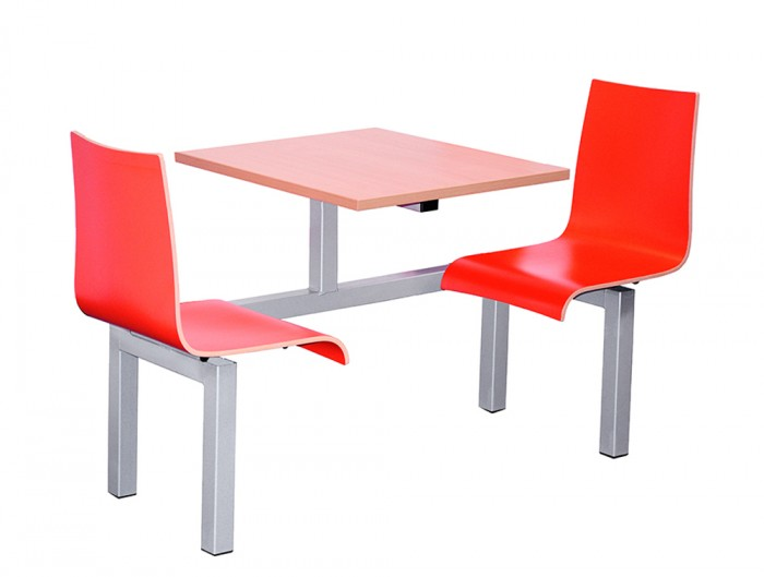 Hinton Fast Food Fixed Beech Table and Red Chairs Two Seater Single Entry Access