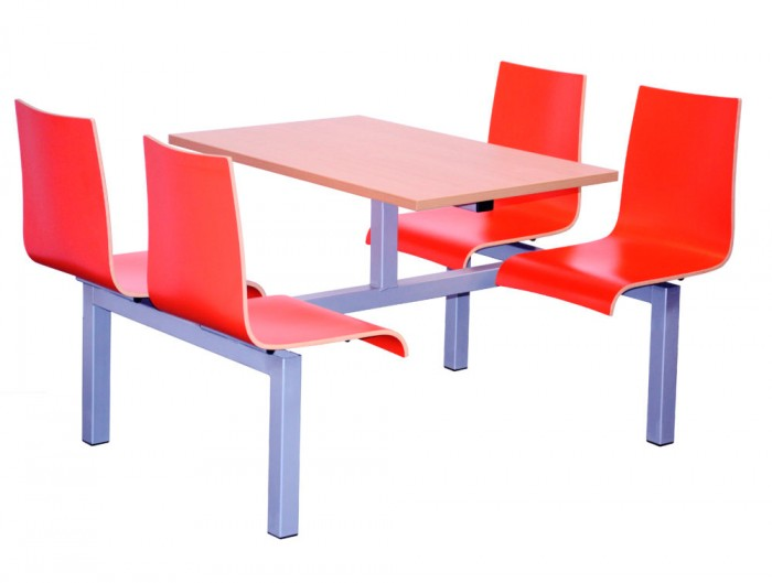 Hinton Fast Food Fixed Table and Chair Four Seaters Double Entry Access