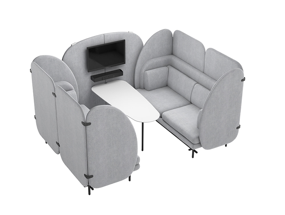 Home 4 Seaters Comfy Indoor Seating Pod in Grey with White Table and Mobile Multimedia Wall with Screen
