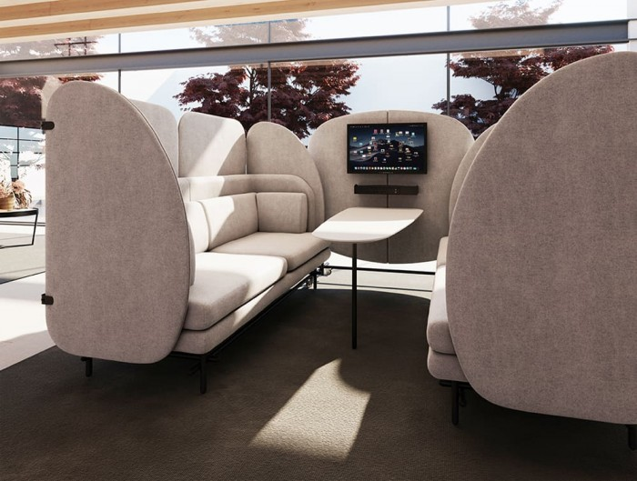 Home Comfy 4 Seater Seating Pod with Cushion and Multimedia Accessories