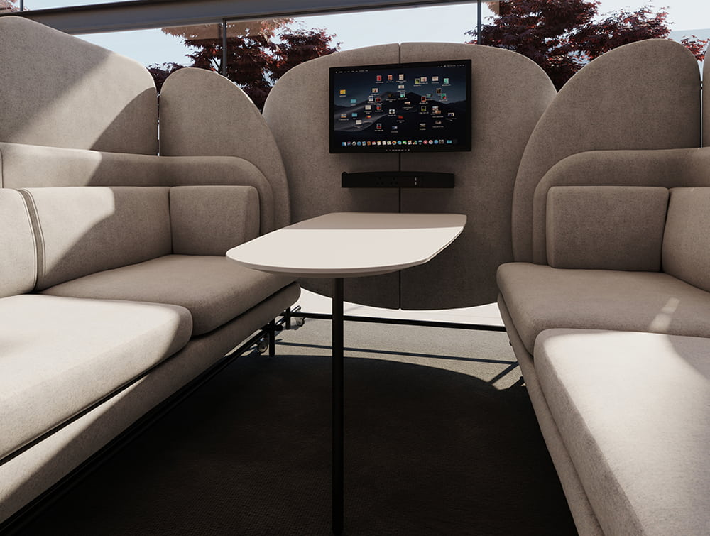 Home Comfy Modular Seating Pod with Double Sofas and Multimedia Mobile Wall
