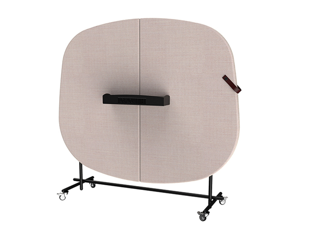 Home Mobile Wall for Meeting and Seating Pod with Power Module Shelf Pink Finish