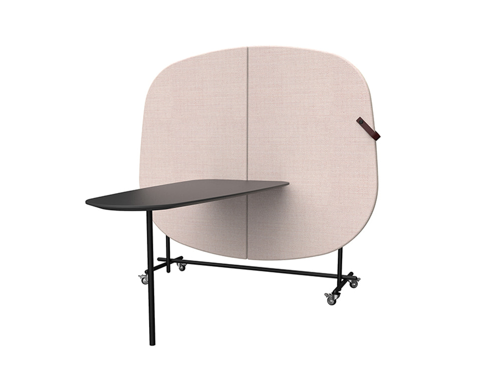 Home Multimedia Mobile Wall for Meeting in Pink with Black Table