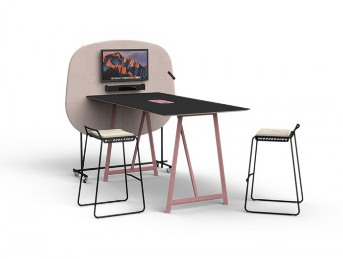 Home Multimedia Mobile Wall for Meeting with High Table Metal Stool and Screen