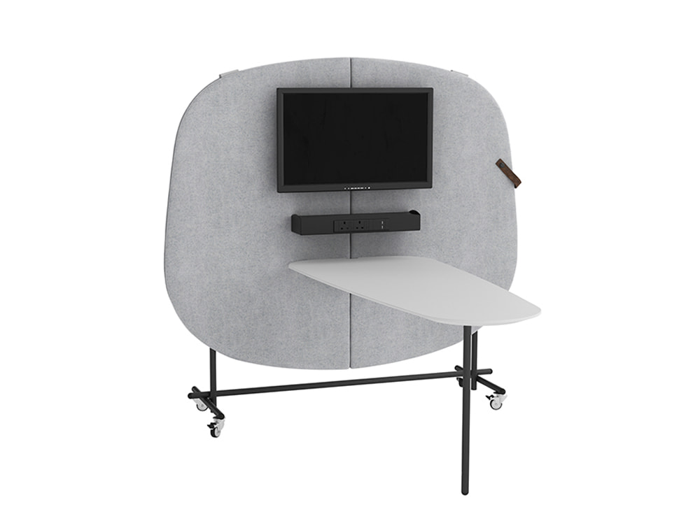 Home Multimedia Mobile Wall for Meeting with Screen Shelf Power Module and Table