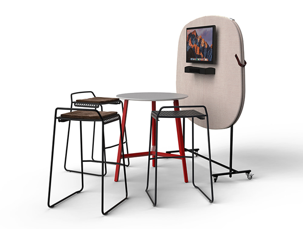 Home Multimedia Mobile Wall for Meetings with High Round Table and Black Metal Stool
