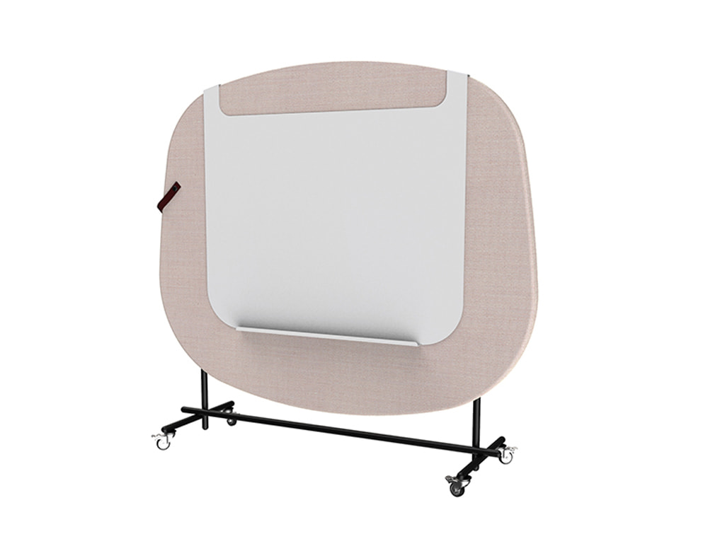 Home Multimedia Mobile Wall in Pink for Meetings with Whiteboard
