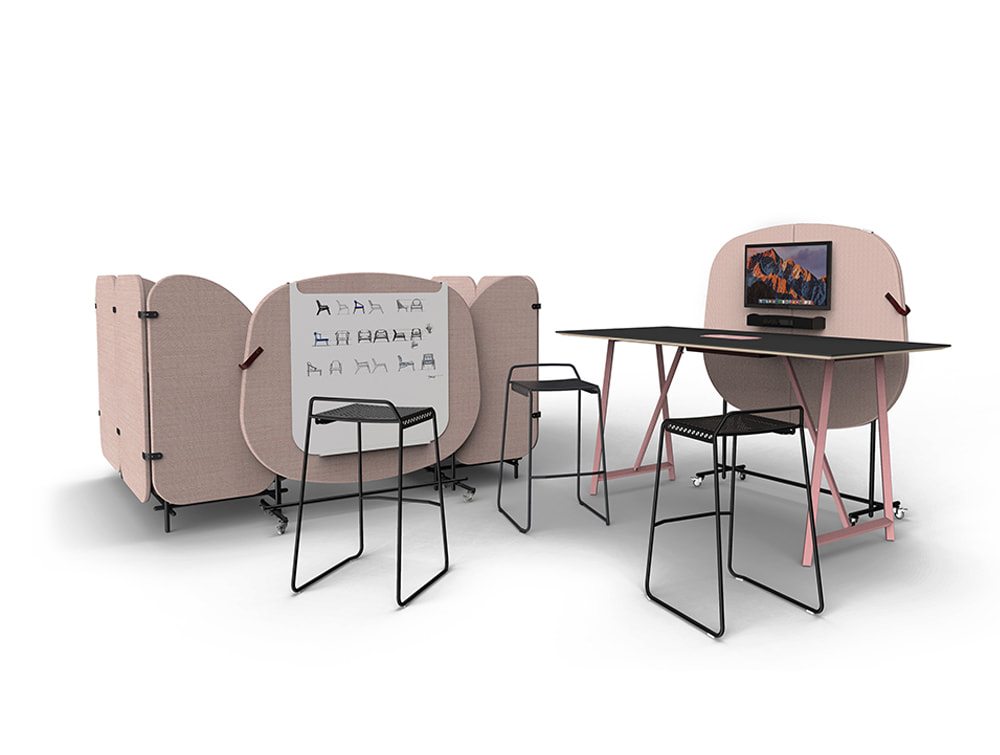 Home Poseur Mobile Media Wall with Screen Whiteboard High Table and Veck Stools