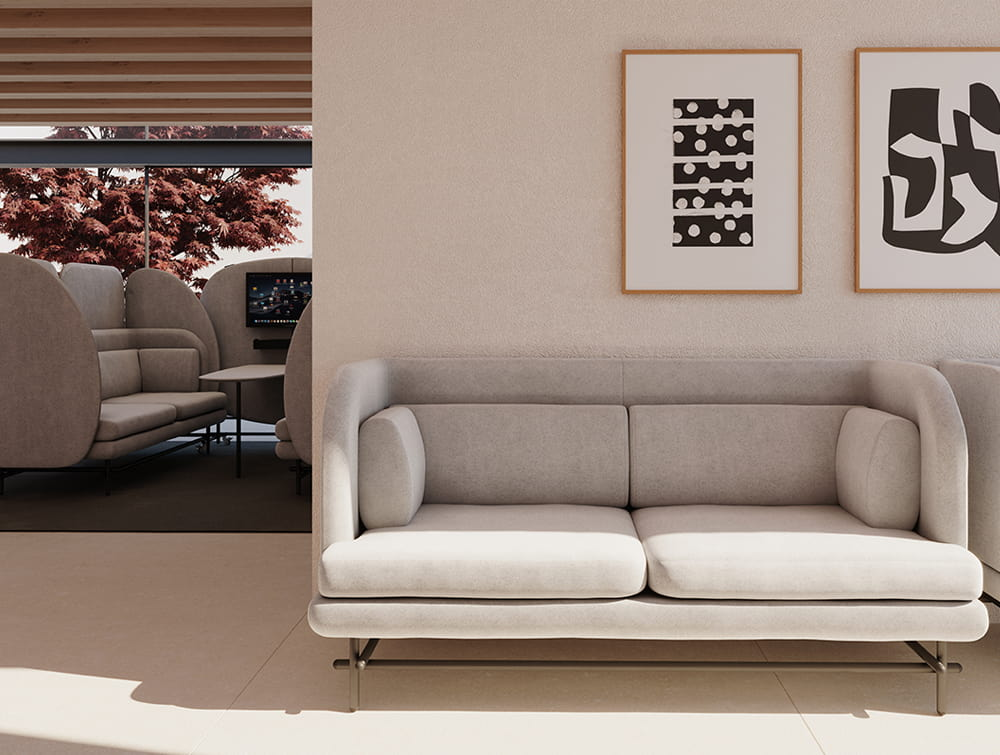 Home Super Comfy 2 Seater Sofa in Grey Waiting Room and Seating Pod with Screen