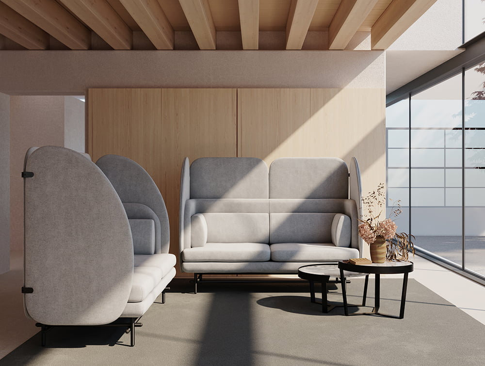 Home Super Comfy 2 Seaters Sofa with Shield for Breakout Area