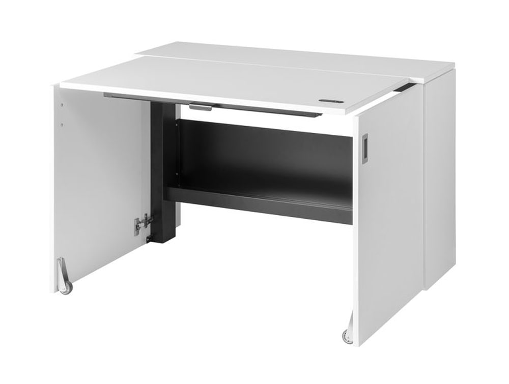 HomeFit Smart Cabinet with Height Adjustable Worktop and Storage Shelf in White