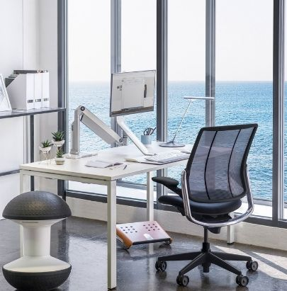 Humanscale Black Mesh Chair and Monitor Arm