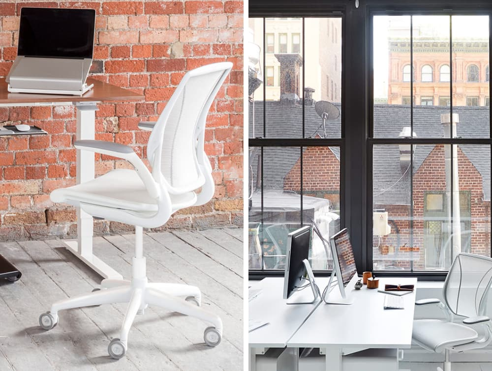 Humanscale Diffreint Full Mesh Task Office Chair in Brick Wall Office Setting