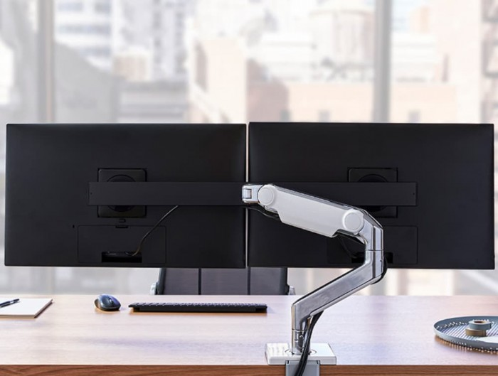 Humanscale M 2.1 Monitor Arm with Two-Piece Clamp Mount Base in Office Rear View