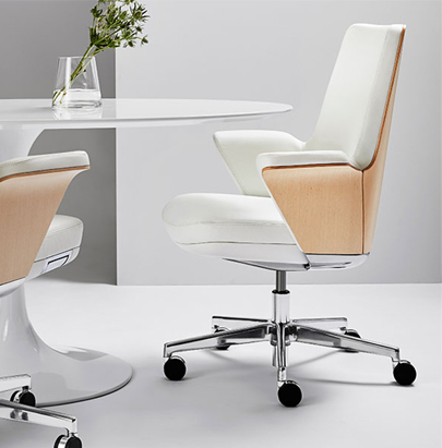 Humanscale Summa Executive Conference Wood Back Office Chair 6 in White Upholstery with White Table