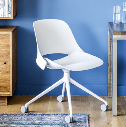 Humanscale Trea Chair with Ergonomic Comfort for Office and Home 6 in Four Star Base Leg in White Finish