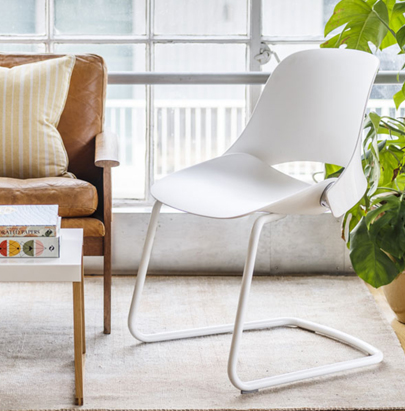 Humanscale Trea Chair with Ergonomic Comfort for Office and Home 7 with Four Leg Base and White Finish with Brown Sofa