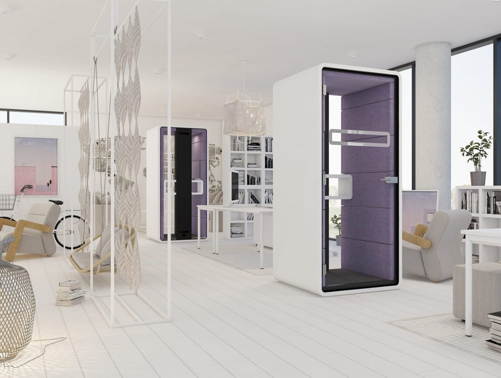 Hush Acoustic Purple Panels Phone Booth Standing White Body in Break Out Reception Area